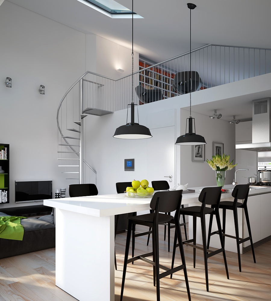 triple d modern monochrome green apartment kitchen dining industrial lighting visualizations from triple d designs